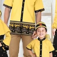 Baju Koko Pria Kuning Motif Ulos - Baju Muslim Sarimbit XXL 181903