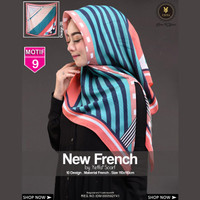 Jilbab Segi Empat FRENCH 9 By Yeffa Scarf- Hijab Kerudung MOTIF