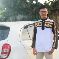 Baju Koko Tapis Lampung White Black Zipper Termurah / lebaran