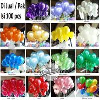 Balon Metalik Latex karet Aneka Warna 12 grosir isi 100 balon dekorasi