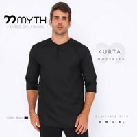 MYTH/ Gamis Pria/ Koko/ Kurta Pria/ Kemeja Polos/ Hitam/ Baju Slimfit