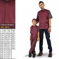 Baju Muslim Koko Couple Ayah Anak Lengan Pendek - Merah Maroon Premium