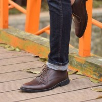 Sepatu Pantofel Pria Azcost Derby Burgundy Original Kulit Asli 39-45