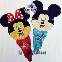Balon Foil Pentungan / Balon Tongkat Kepala Mickey Minnie Mouse