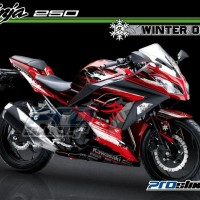 Decal Kawasaki Ninja 250 FI Motif Moto2 WINTER Edition MERAH