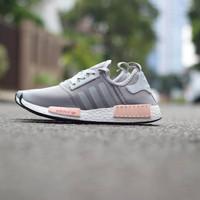 Adidas NMD R1 Primeknit Grey Pink / Abu Sepatu Cewe Wanita Running