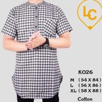 Baju Koko Lime Clothes K026 Kemeja Kurta Pria Kotak-kotak Putih Hitam