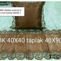 Set Sarung Bantal Kursi Shabby Embos 5 Pcs SBK + 1 Taplak Meja Tamu