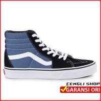 SEPATU BOOTS VANS ORIGINAL SK8-HI BLACK NAVY BLUE