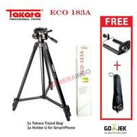 Tripod Takara eco 183a tripod HP kamera Dslr mirrorless + bag hitam
