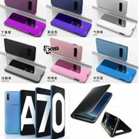 A70 Samsung FLIP COVER Casing Auto Lock Stand Mirror SmartCase Case - Hitam