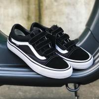 Sepatu Vans Oldskool Pro Velcro Black White