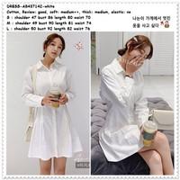 Mini Dress Kemeja Putih Polos Wanita Korea Import AB437142 White Tunik