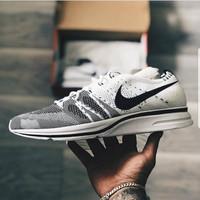 Nike Flyknit Trainer White Black Premium Original Sepatu Gym