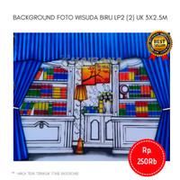 Background Backdrop Layar Foto Wisuda Lemari gorden biru LP2 3x2.5m