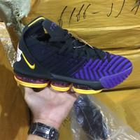 Sepatu basket Nike Lebron 16 Black Purple Premium High Quality