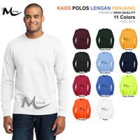 Baju Kaos Polos Santai Lengan Panjang Pria Terbaru Putih