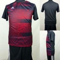 Setelan Baju/Kaos Sepak Bola/Futsal Dri-Fit Print Dewasa Adidas Hitam