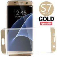 Screen Protector Samsung GALAXY S7 EDGE GOLD Tempered Glas Anti Gores