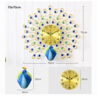 Jam Dinding 3D Quartz Creative Design Model Burung Merak 70 x 70 CM -