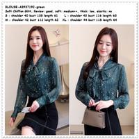 Baju Atasan Kemeja Pita Wanita Blouse Korea Import AB937192 Green