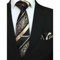 set tie gold muda black champagne dasi panjang, pocket square,tie clip