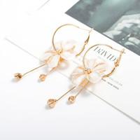 anting panjang bunga flower long circle earrings jan169