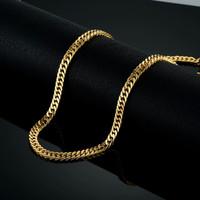 Kalung Rantai Kecil Titanium Emas Import -Necklace Chain Pria Gold