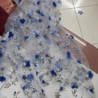 impor !! bahan organza 3d motif bunga kain organza 3d readygen spesial
