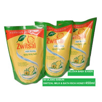 Sabun Bayi isi Ulang Switzal Baby Milky Bath RICH HONEY - 450 ml-Pouch