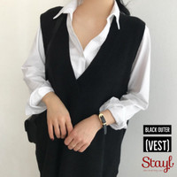 STAYL- Outer Vest Knit Jumbo Baju Hangat XL - 5XL   Rompi Rajut Yuriko - Hitam