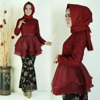 ivr Organza Duyung Batik kebaya setelan pakaian muslim wanita