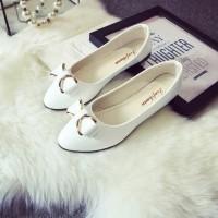 1099 sepatu flatshoes pita kulit glossy import putih hitam pink beige
