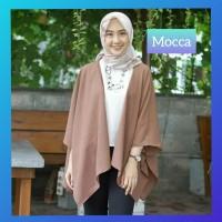 atasan muslim wanita blouse outfit blus tunik hijab outer cardi mocca