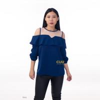CBL303 | Talitha Tile Blouse Atasan Wanita Off Shoulder Ruffle - Navy