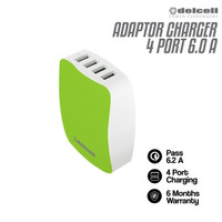 Delcell Adaptor 4 Port USB Charger Real 6 Amper Smart Charger
