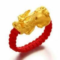 cincin emas ASLI 24karat hongkong dengan tali cina