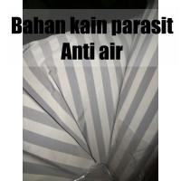 BAHAN KAIN PARASIT PARASUT ANTI AIR MOTIF SALUR STRIP ABU meteran-yard