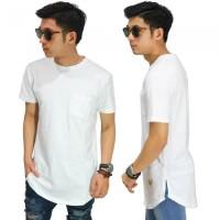 Longline T-Shirt Basic White/KAOS LONGSHIRT PUTIH POLOS COWOK KEREN