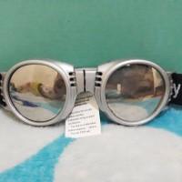 kacamata tali sport kacamata untuk motor kacamata gogle bulat silver
