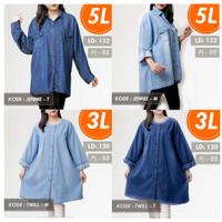 MDNdenimBUTTONdark LD 128 sampai XXXL atasan wanita blus jeans jumbo
