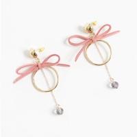 Anting Korea Elegant Ring Bowknot Black Crystal Earrings AGS335