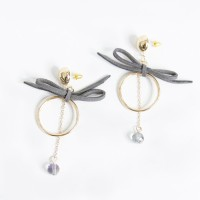 Anting Korea Elegant Ring Bowknot Black Crystal Earrings AGS334