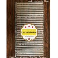 Sedotan Aqua individu renceng straw wrapping sedotan steril isi 24pcs
