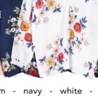 BARU! Baju Atasan Wanita Blouse V-Neck Floral bahan Maxmara Premium -