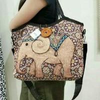 Tote bag kancing / tas import / tas thailand kanvas gajah owl