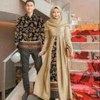 Baju Couple Batik Modern Baju Copel Sarwendah Mocca Terbaru