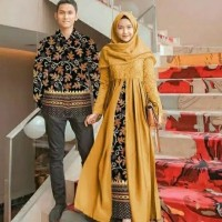 Baju Couple Batik Modern Baju Copel Sarwendah Mustard Terbaru