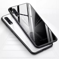 Case Glass Samsung Galaxy A70 Soft Hard back Cover Tempered Mirror