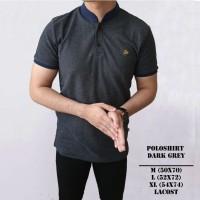 Kaos Polo Shirt Pria   Baju Cowok Polo Kerah Shanghai Abu Tua Grey - Putih, XL